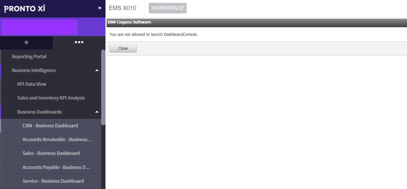 IBM Cognos Dashboard built into Pronto Xi ERP Software